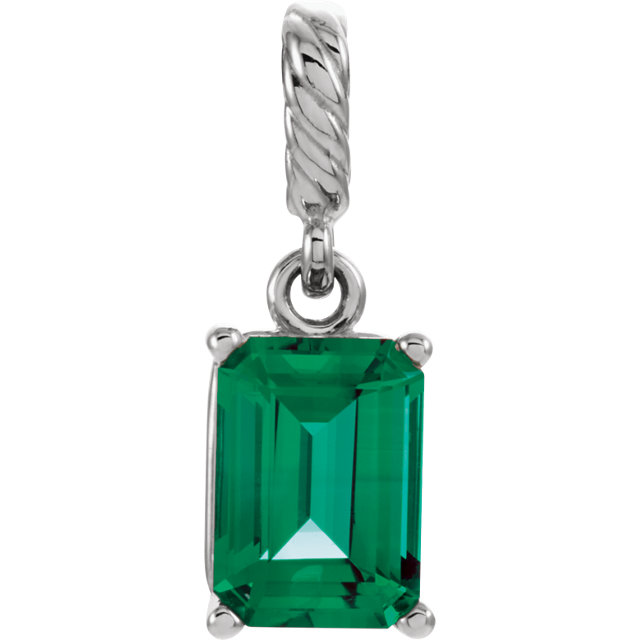 Great Gift in 14 Karat White Gold Genuine Chatham Created Created Emerald Pendant