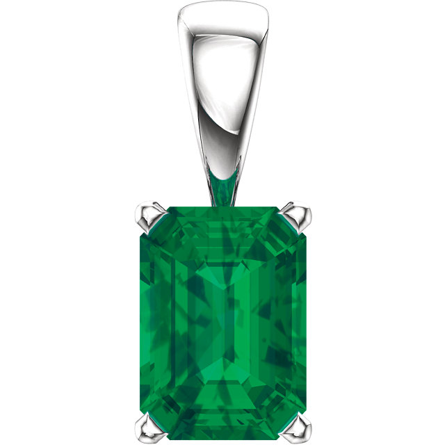 Must See 14 KT White Gold Genuine Chatham Created Created Emerald Pendant