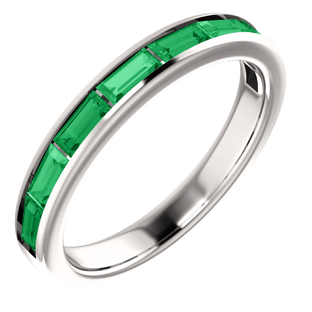 Great Buy in 14 Karat White Gold Genuine Chatham Created Created Emerald Ring