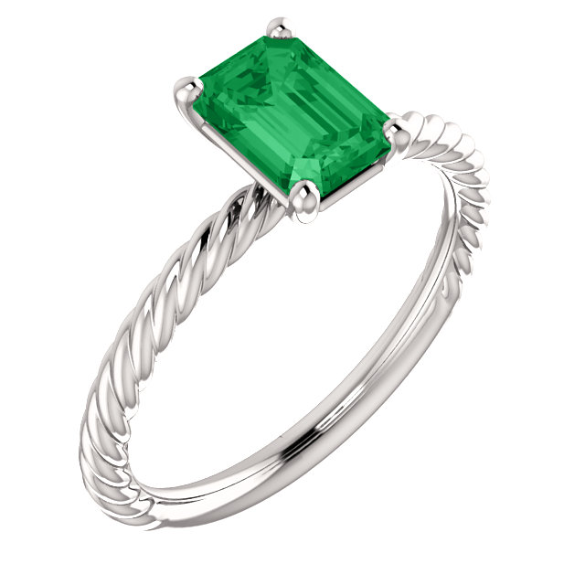 Perfect Gift Idea in 14 Karat White Gold Genuine Chatham Created Created Emerald Ring