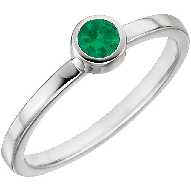 14 Karat White Gold Genuine Chatham Emerald Ring