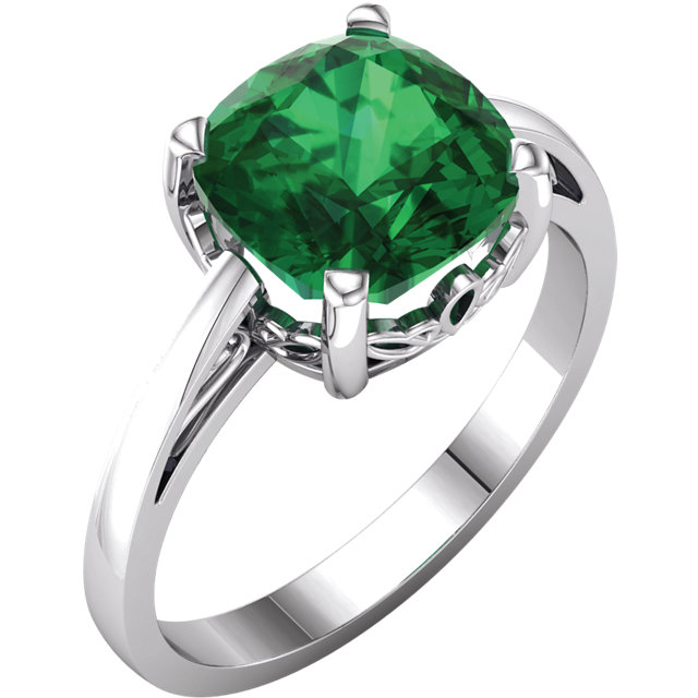Genuine Chatham Created Emerald Ring in 14 Karat White Gold Chatham Created Created Emerald Ring
