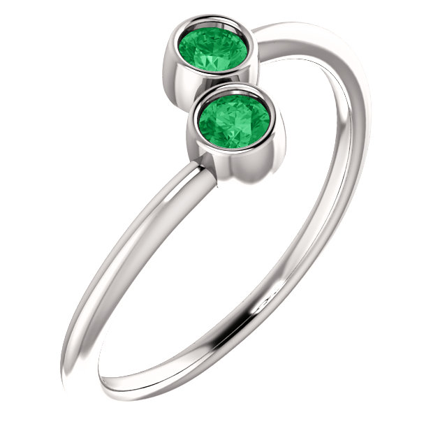 14 Karat White Gold Genuine Chatham Emerald Two-Stone Ring