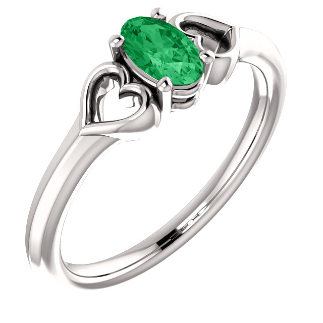 Genuine  14 Karat White Gold Genuine Chatham Emerald Youth Heart Ring