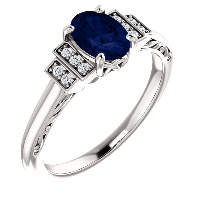 Classic 14 Karat White Gold Chatham Created Lab-Grown Oval Blue Sapphire & .05 Carat Total Weight Diamond Ring