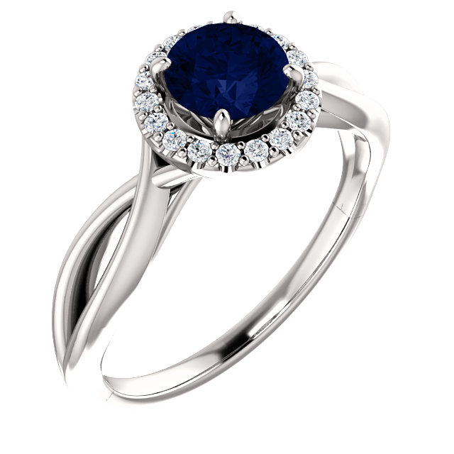 Gorgeous 14 Karat White Gold Chatham Created Lab-Grown Round Blue Sapphire & 1/10 Carat Total Weight Diamond Ring