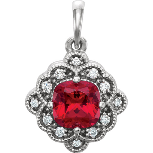 Contemporary 14 Karat White Gold Genuine Chatham Created Created Ruby & .03 Carat Total Weight Diamond Pendant