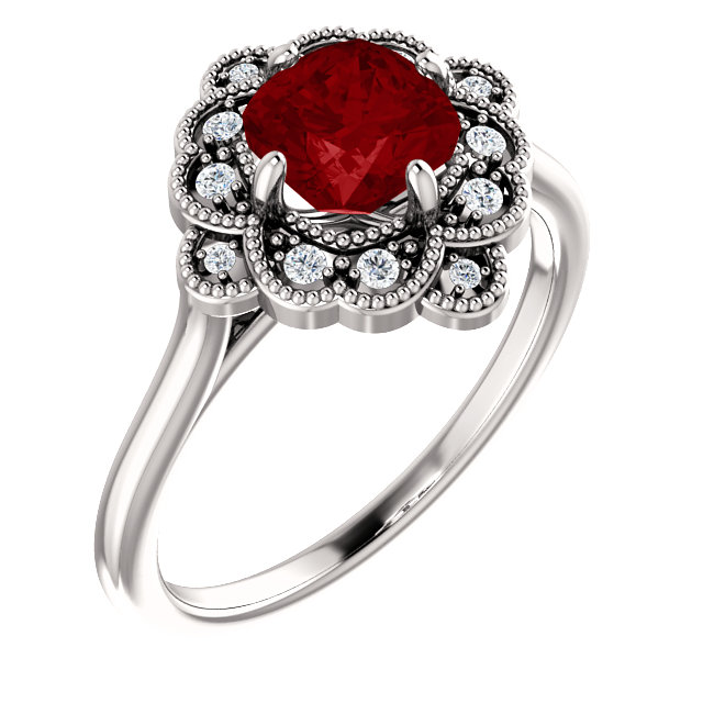 14 Karat White Gold Genuine Chatham Ruby & 0.10 Carat Diamond Ring
