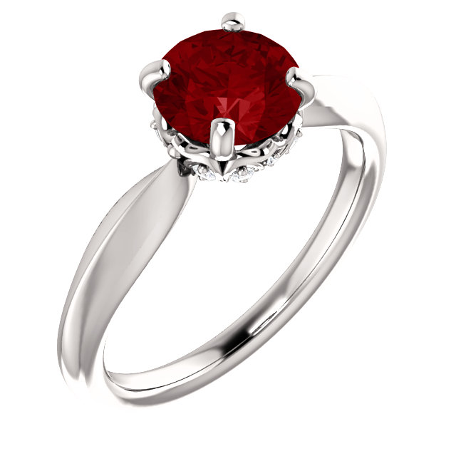 Genuine  14 Karat White Gold Genuine Chatham Ruby & 0.10 Carat Diamond Ring