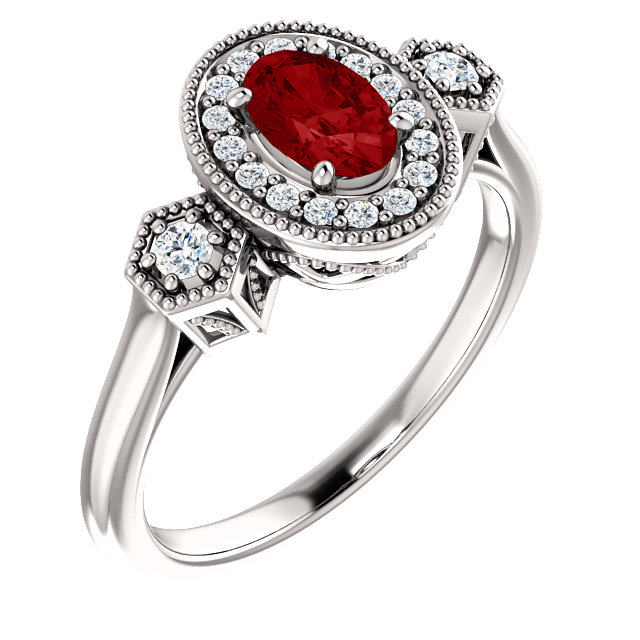 Beautiful 14 Karat White Gold Genuine Chatham Created Created Ruby & 0.17 Carat Total Weight Diamond Ring