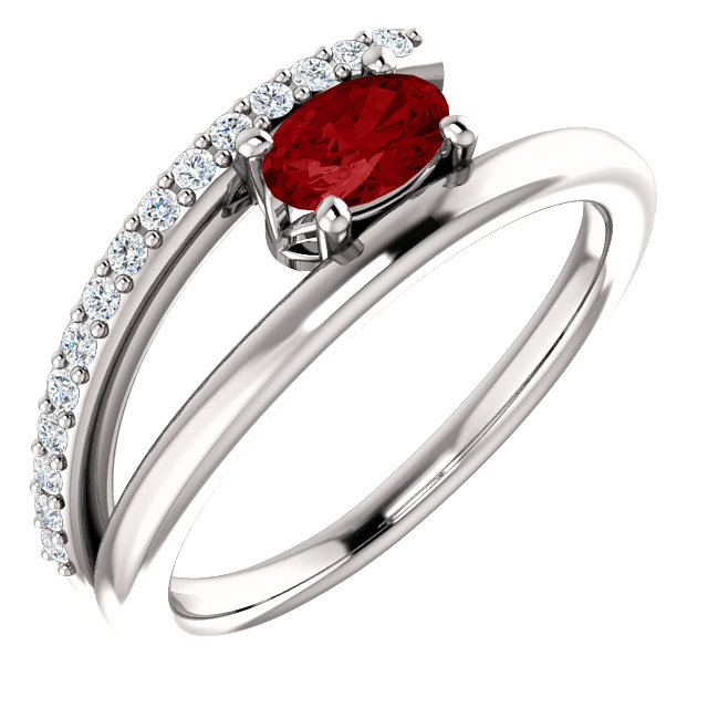Genuine 14 Karat White Gold Genuine Chatham Ruby & 0.12 Carat Diamond Ring