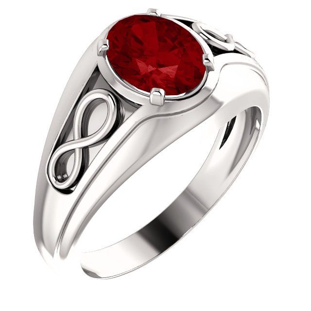 Great Buy in 14 Karat White Gold Genuine Chatham Created Created Ruby Infinity-Inspired Men's Ring