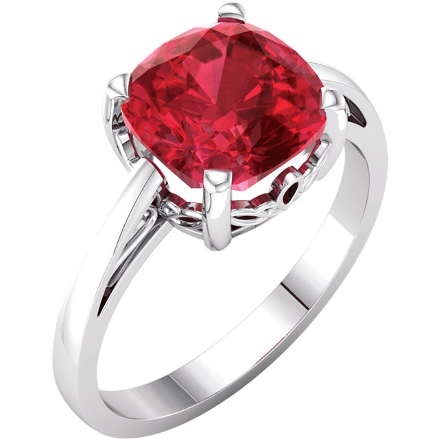 Great Gift in 14 Karat White Gold Genuine Chatham Created Created Ruby Ring