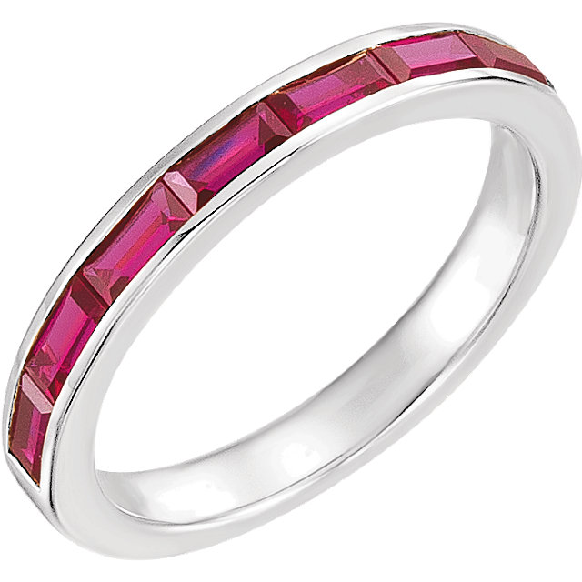 Gorgeous 14 Karat White Gold Genuine Chatham Created Created Ruby Ring