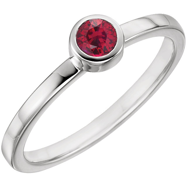 Beautiful 14 Karat White Gold Genuine Chatham Created Created Ruby Ring