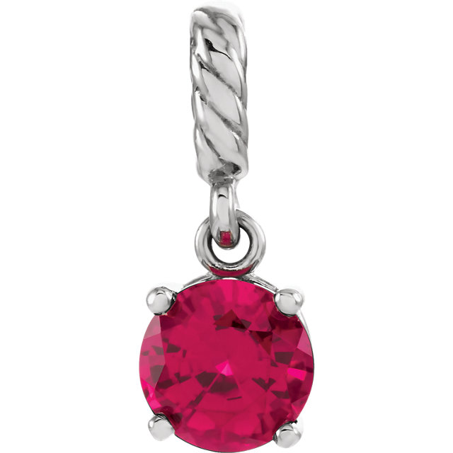 Chic 14 Karat White Gold Genuine Chatham Created Created Ruby Rope Pendant
