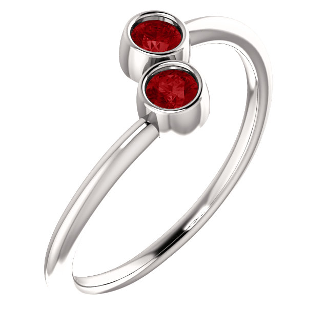 Genuine 14 Karat White Gold Genuine Chatham Ruby Two-Stone Ring