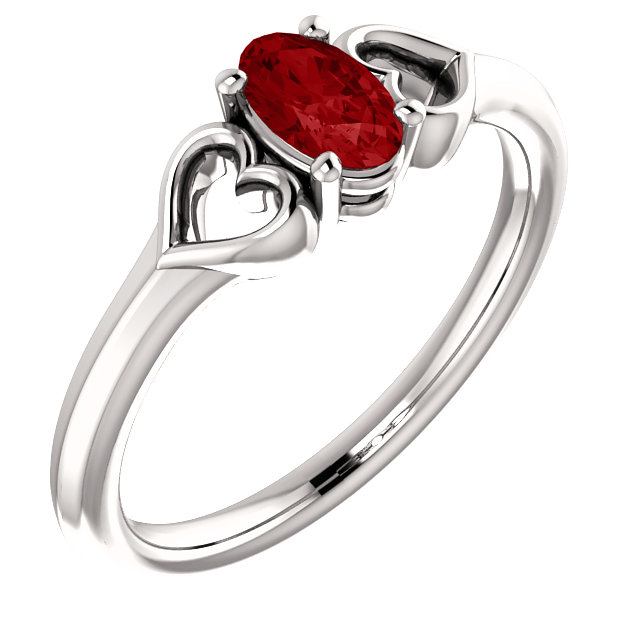 Great Deal in 14 Karat White Gold Genuine Chatham Created Created Ruby Youth Heart Ring