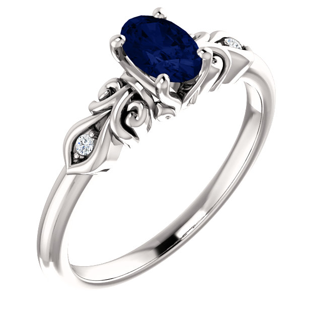 Contemporary 14 Karat White Gold Genuine Chatham Created Created Sapphire & .02 Carat Total Weight Diamond Ring