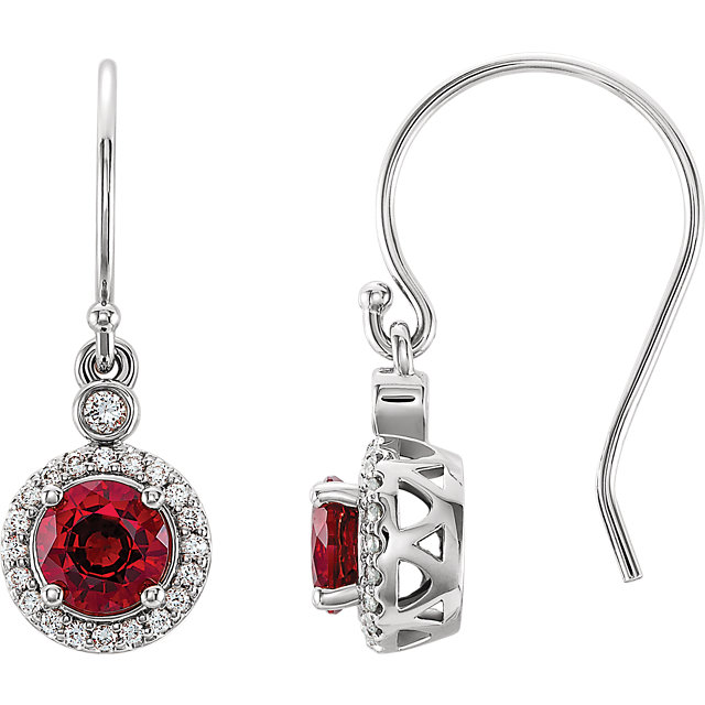 14 Karat White Gold Chatham Lab Grown Ruby & 0.17 Carat Diamond  Halo-Style Earrings
