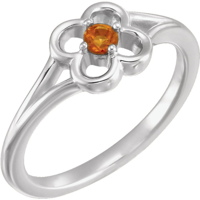 Chic 14 Karat White Gold Citrine Flower Youth Ring