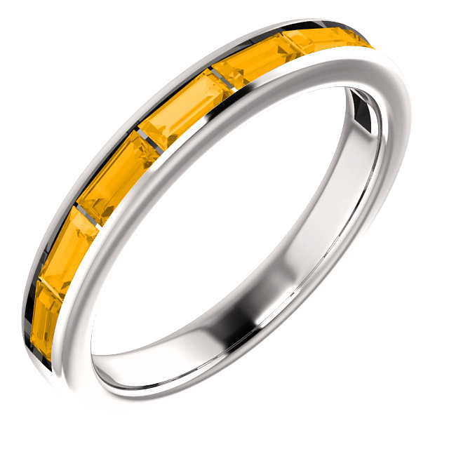 Perfect Jewelry Gift 14 Karat White Gold Citrine Ring
