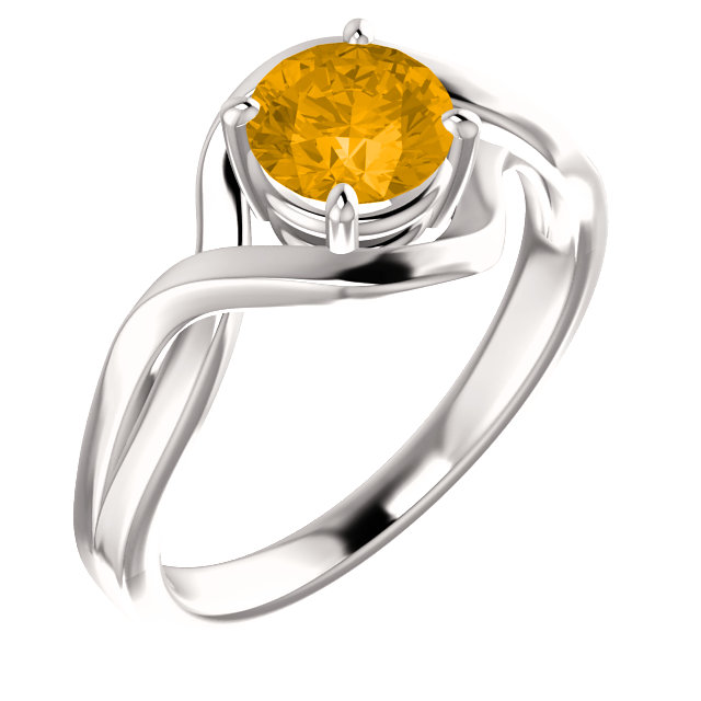 Great Buy in 14 Karat White Gold Citrine Ring