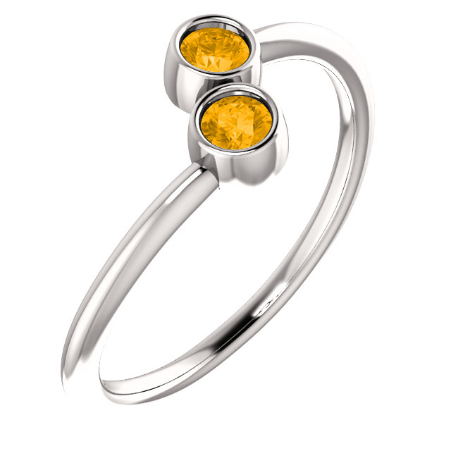 Surprise Her with  14 Karat White Gold Citrine Two-Stone Ring