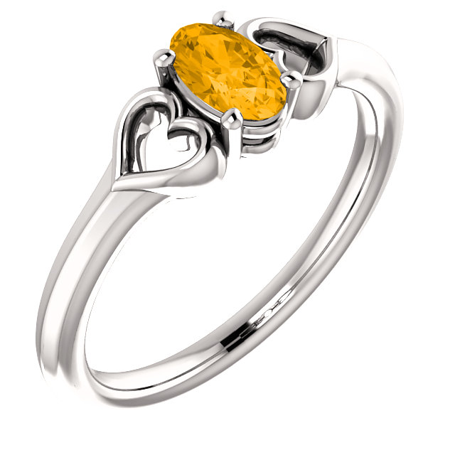 Very Nice 14 Karat White Gold Citrine Youth Heart Ring
