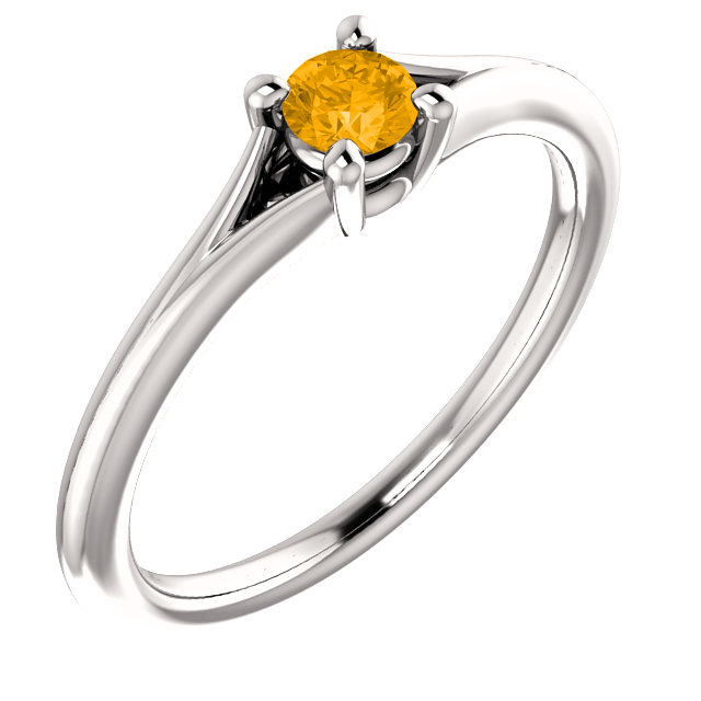 Fine Quality 14 Karat White Gold Citrine Youth Ring