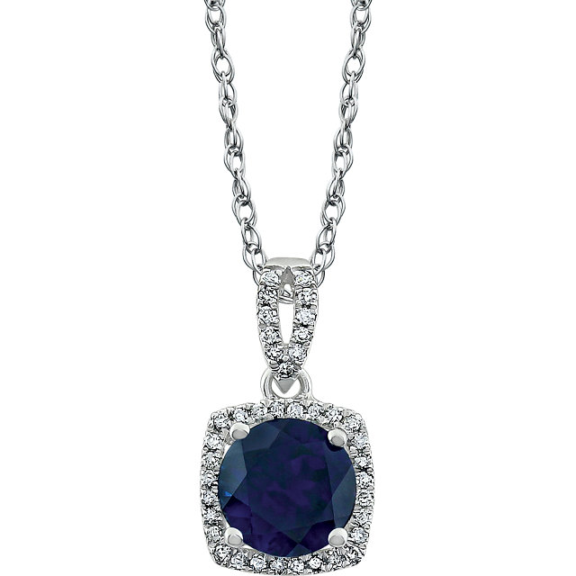 Stunning 14 Karat White Gold Created Blue Sapphire & 0.12 Carat Total Weight Diamond 18