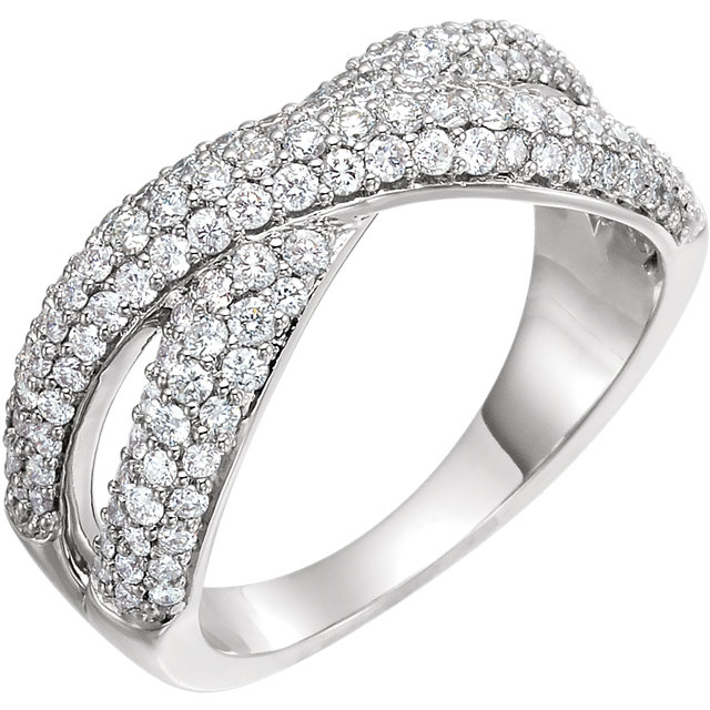 Fine Quality 14 Karat White Gold 1 Carat Total Weight Diamond Criss-Cross Ring