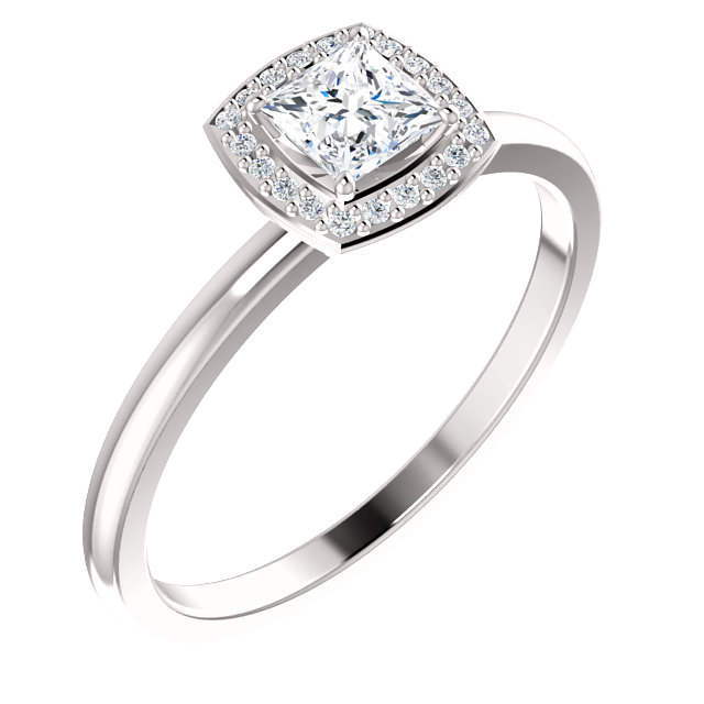 Genuine 14 KT White Gold Diamond & .05 Carat TW Diamond Ring