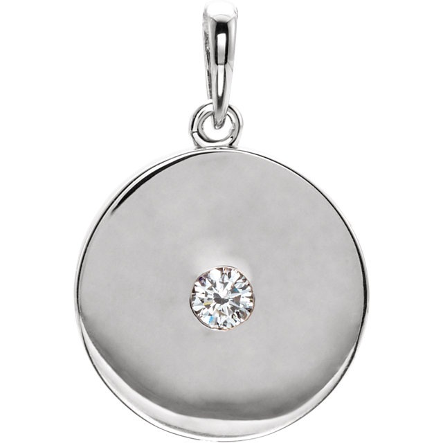 14 Karat White Gold 0.10 Carat Diamond Disc Pendant