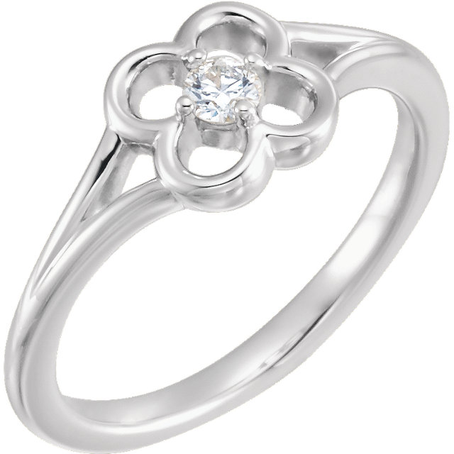 Buy Real 14 KT White Gold Diamond Flower Youth Ring
