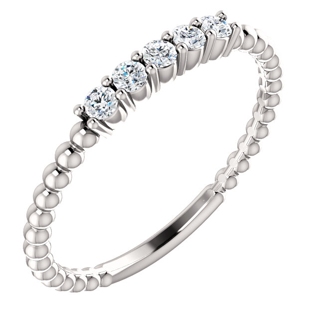 Buy Real 14 KT White Gold Diamond Stackable Ring