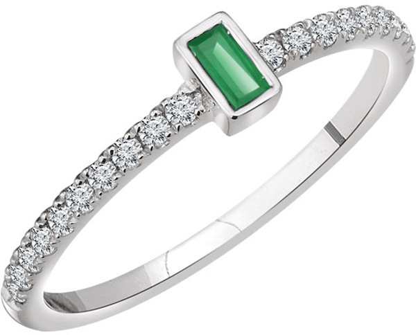 14 Karat White Gold Emerald & 1/5 Carat Total Weight Diamond Ring