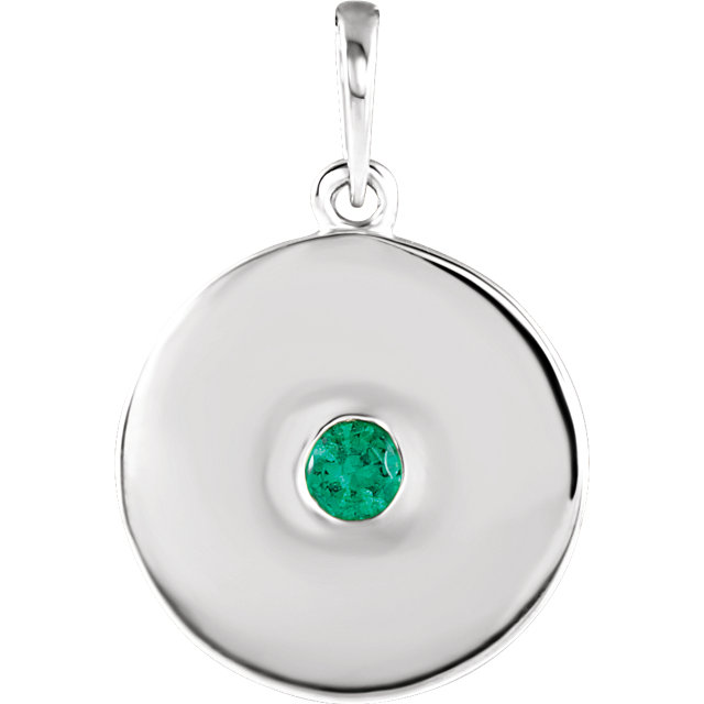 Attractive 14 Karat White Gold Round Genuine Emerald Disc Pendant