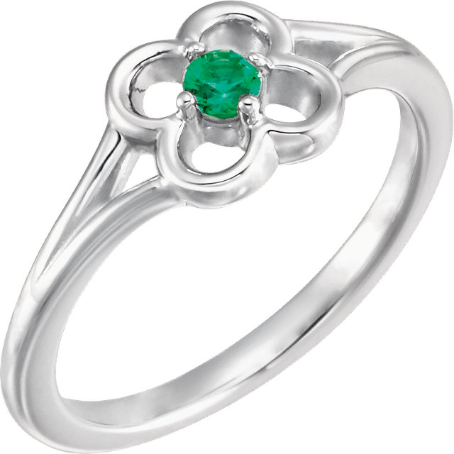 Genuine  14 KT White Gold Emerald Flower Youth Ring