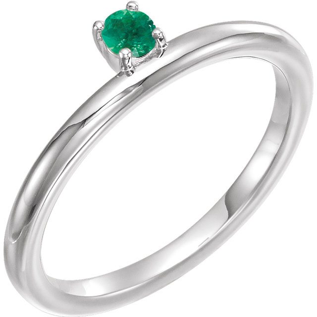 Must See 14 Karat White Gold Emerald Stackable Ring