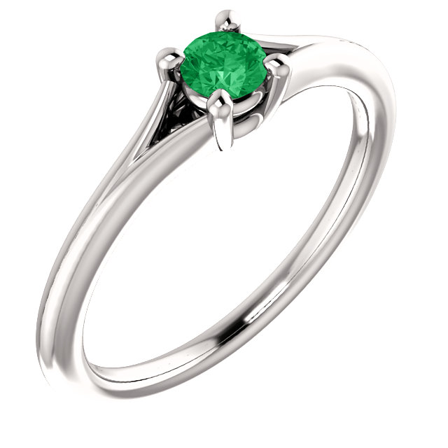 Genuine 14 KT White Gold Emerald Youth Ring