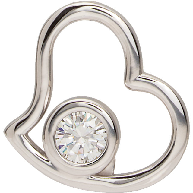 Fine Quality 14 Karat White Gold Genuine Charles Colvard Forever One Colorless Created Moissanite Heart Pendant