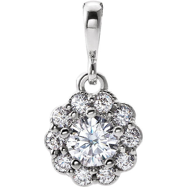 Perfect Gift Idea in 14 Karat White Gold Genuine Charles Colvard Forever One Moissanite & 0.17 Carat Total Weight Diamond Pendant