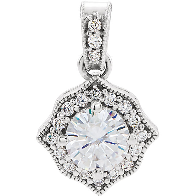 Great Deal in 14 Karat White Gold Genuine Charles Colvard Forever One Moissanite & 0.17 Carat Total Weight Diamond Pendant