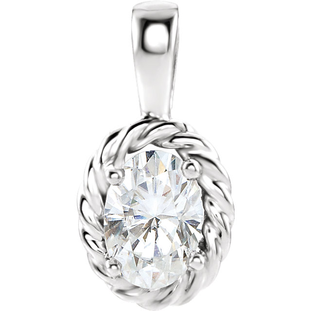Contemporary 14 Karat White Gold Genuine Charles Colvard Forever One Moissanite Pendant