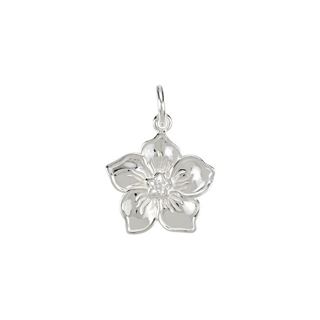 Contemporary 14 Karat White Gold Forget Me Not Charm