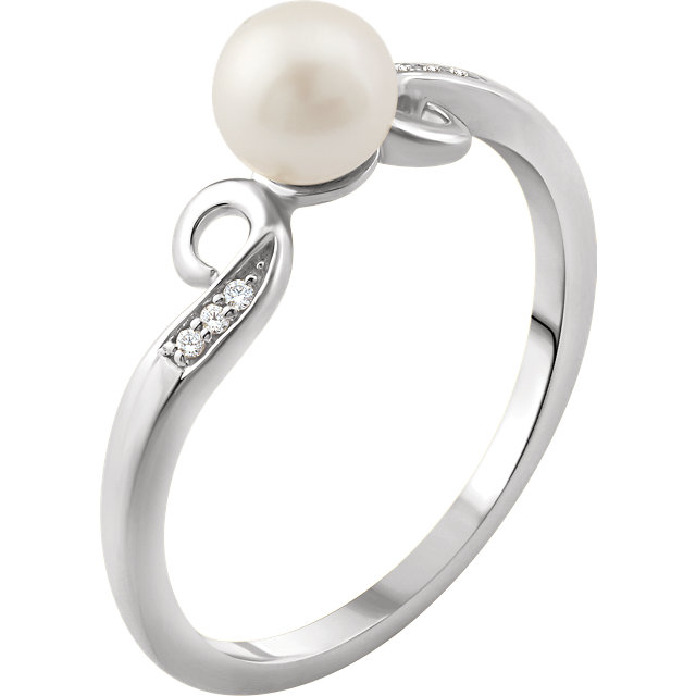 Genuine  14 KT White Gold Freshwater Cultured Pearl & .02 Carat TW Diamond Ring