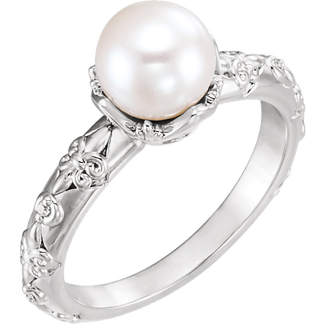 Genuine 14 KT White Gold Freshwater Cultured Pearl & .02 Carat TW Diamond Vintage-Inspired Ring