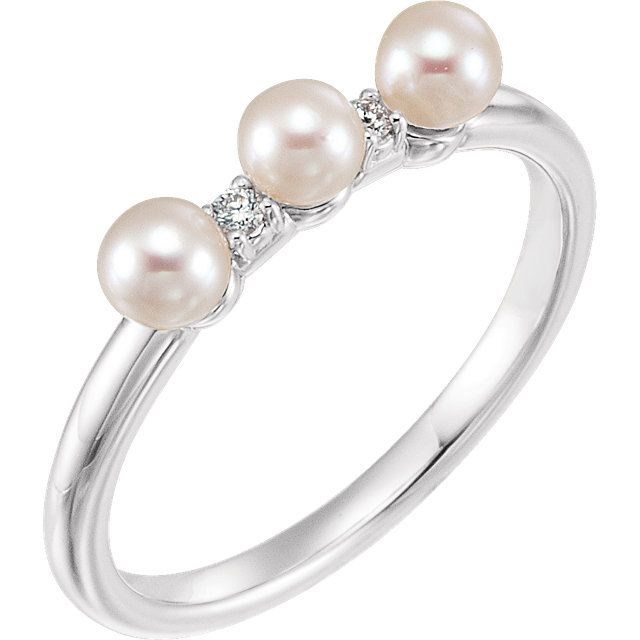 Genuine 14 KT White Gold Freshwater Cultured Pearl & .03 Carat TW Diamond Stackable Ring