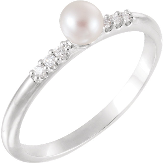 Must See 14 Karat White Gold Freshwater Cultured Pearl & .05 Carat Total Weight Diamond Ring